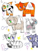 Free Adoptables Batch 1 by StarsongDstarwatcher