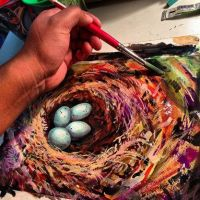 4 blue eggs in a nest painting by geralddedios
