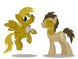 Golden Derpy and Dr. Whooves by anarchemitis
