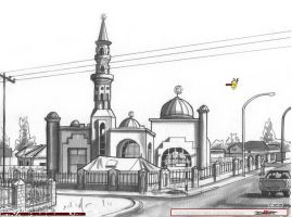 Block 6 Mosque Gaborone inks smll by MbK14