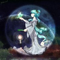 miku in the moon by sakuraplus