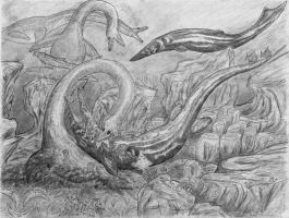 Elasmosaurus Vs Tylosaurus darker original by NashD1