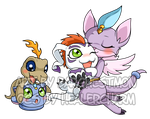 Commission - Virgomon and Gomamon by Barghestmon