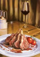 A Beef Steak with Red Wine by thamzmasterpiece