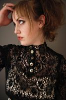 High Collar Black Lace Top by bloomsinthenight