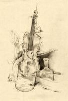 Still life with violin by 3lda