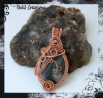 Bright Copper Moss Agate Wire Pendant by kelleejm1