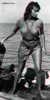 Sophia Loren Dolphin Red Blue 3d by 3dpinup