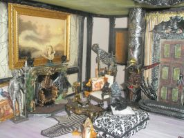 Grimhaunt Manor Miniature Dollhouse Living room by grimdeva