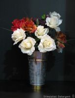 Flowers in a metallic vase by Stimulated-Detergent
