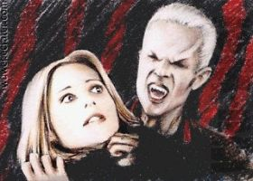 Buffy+Spike sketchcard by whu-wei
