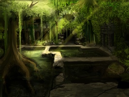 BG practice: forest / earth temple by Pokey-Chan