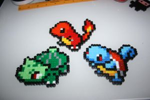 Generation1 Starters-Bulbasaur,Charmander,Squirtle by badger-creations