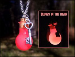 Glow in the Dark Love Potion Vial Bottle Necklace by Euphyley