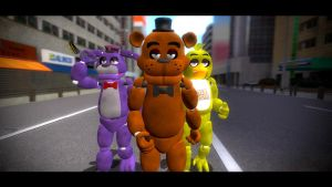 freddy and the gang walking like badasses in japan by crazybot1231