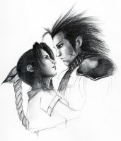 WIP - Zack and Aerith by lonelymiracle