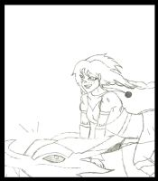 Azra TES OC and Odahviing: Freedom (Sketch) by animedugan