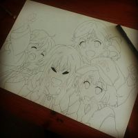 Rolling girls line art by ruud123band