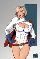 Power Girl sketch colored by RougeDK