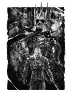 The Wild Hunt Black and White by JustAnoR