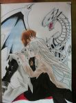Kaiba , Kisara and Blue Eyes White Dragon by TheGaboefects