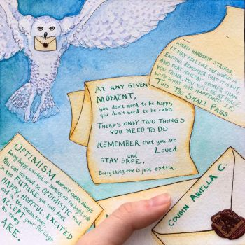 Owl Post Card (Watercolors, Mixed Media) by ColaChu