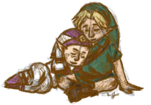 Young Link and Zelda by Nakkilapsi