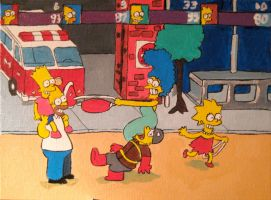 Simpsons Painting by steverinoz