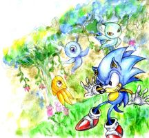 Sonic WaterColours xD by Geexy-Thingie