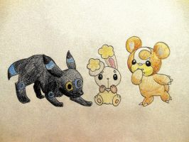 Shiny Umbreon, Buneary, Teddiursa by Dragonography