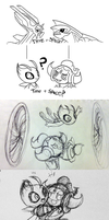 Hoopa and Celebi Doodles by TerraTerraCotta