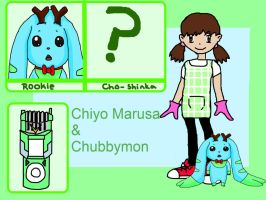 Digimon Xros Wars OC - Chiyo and Chubbymon Ref by tinttiyo