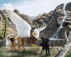 Gryphons in play - daddy+kids by Zanten