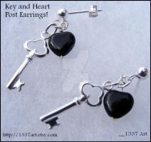 Key and Heart Post Earrings by 1337-Art