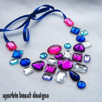 Girly Pink and Blue Necklace by Natalie526