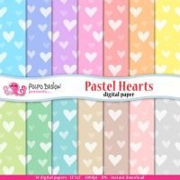 Pastel Hearts digital papers by PolpoDesign