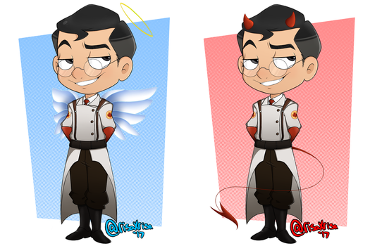 [TF2] Chibi Medic Angel|Devil by risaXrisa