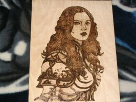 Female in Plate Wood Burning by Stepher17