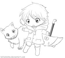 Chibi Line art.. Allowed to Color it! by laliluleloha