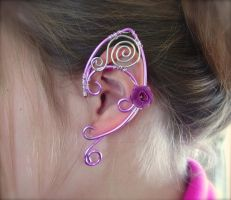 Pretty in Pink, Elf Ear Cuffs, Ear Wraps by jhammerberg