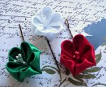 Merry Christmas Kanzashi bobby pin set. by mycraftloft
