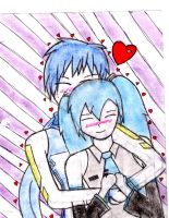 kaito and miku hug colored by autumn2010