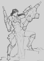 Scifi character sketch 3 by p00se2