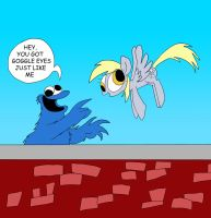 Derpy and Cookie Monster by WaggonerCartoons