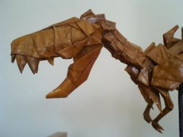 Origami T-rex Skeleton Detail by Kosmu