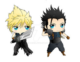 Cloud and Zack Chibis by Nashiil