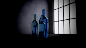 Dramatic Render of Glass Bottles by rasiquiz