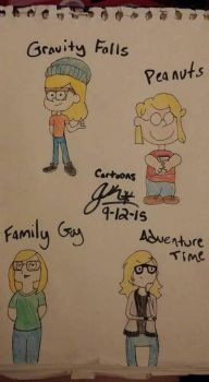 Drawing Myself in Different Styles- #TBT by Tomboy929