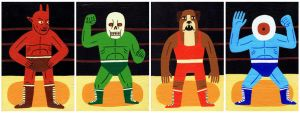 Mini Wrestlers by Teagle