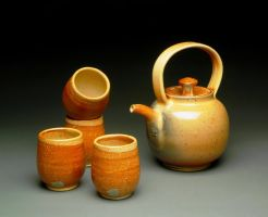 Gas Fired Shino Tea Set by MBrownCeramics